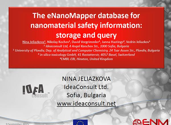 The eNanoMapper database for nanomaterial safety information: storage and query